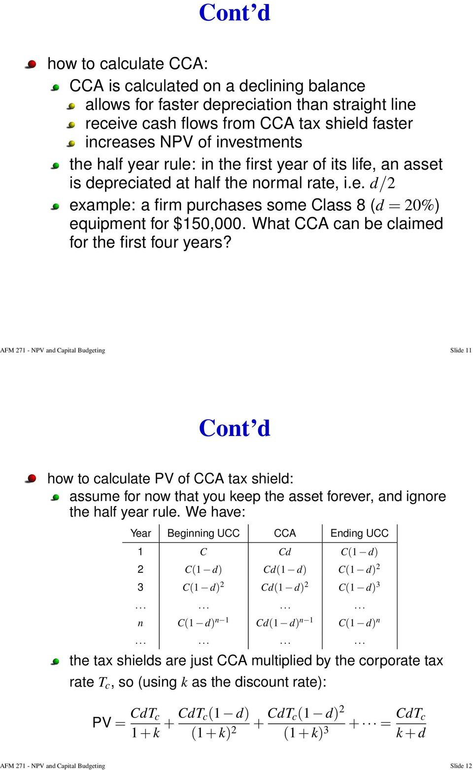 What CCA can be claimed for the first four years?