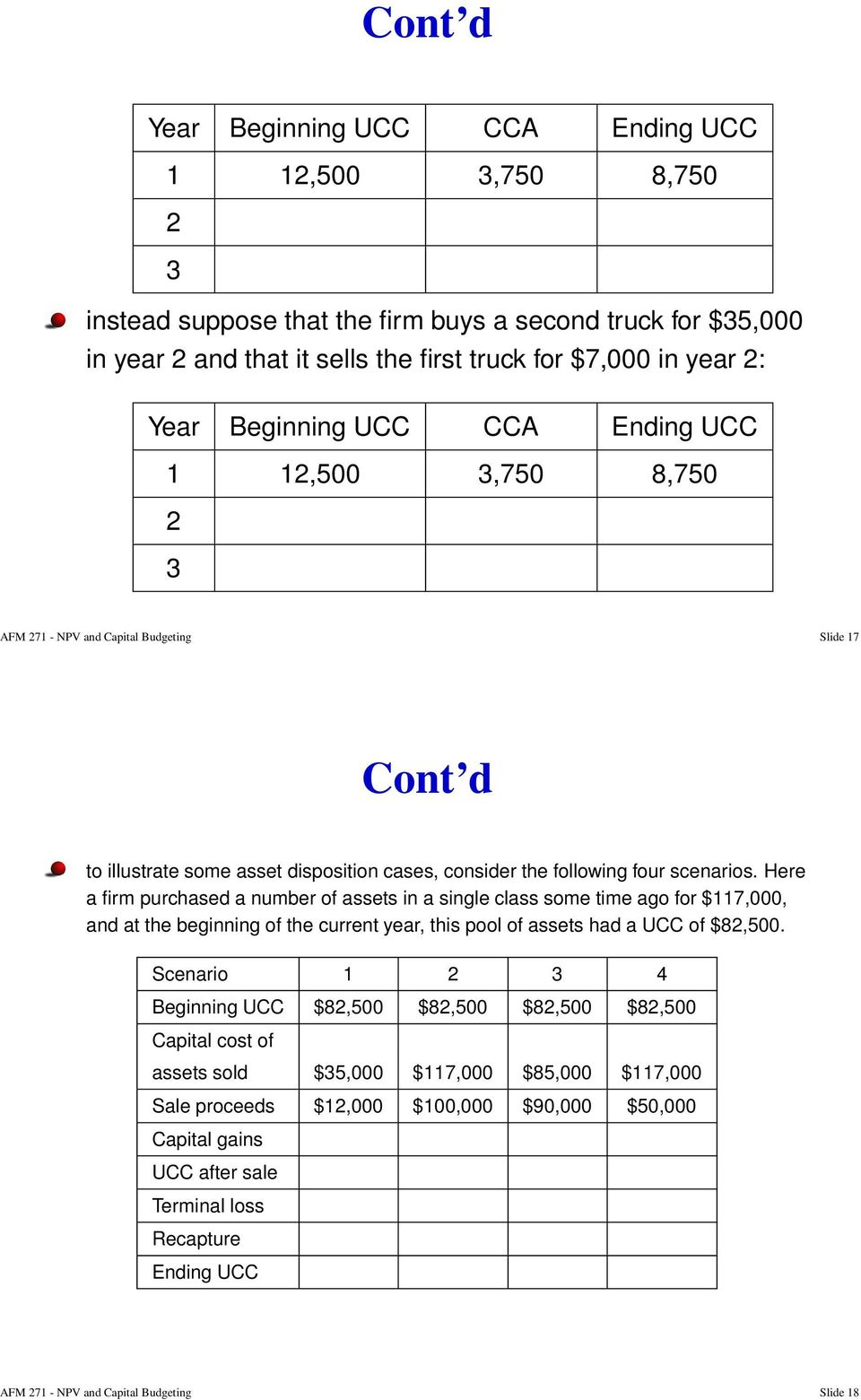 Here a firm purchased a number of assets in a single class some time ago for $117,000, and at the beginning of the current year, this pool of assets had a UCC of $82,500.
