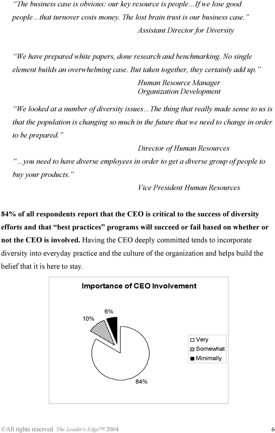 Human Resource Manager Organization Development We looked at a number of diversity issues The thing that really made sense to us is that the population is changing so much in the future that we need