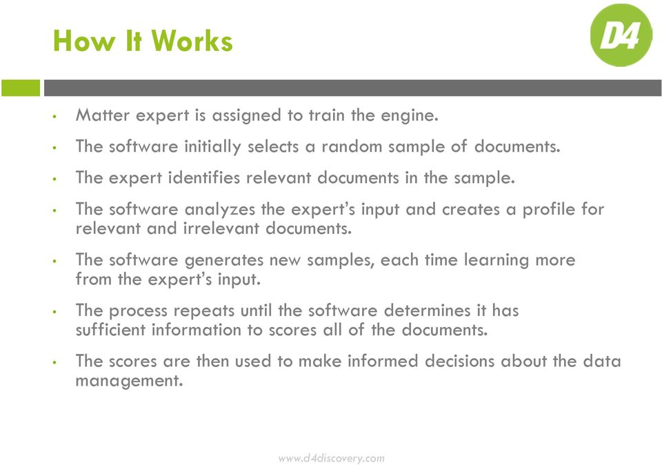 The software analyzes the expert s input and creates a profile for relevant and irrelevant documents.