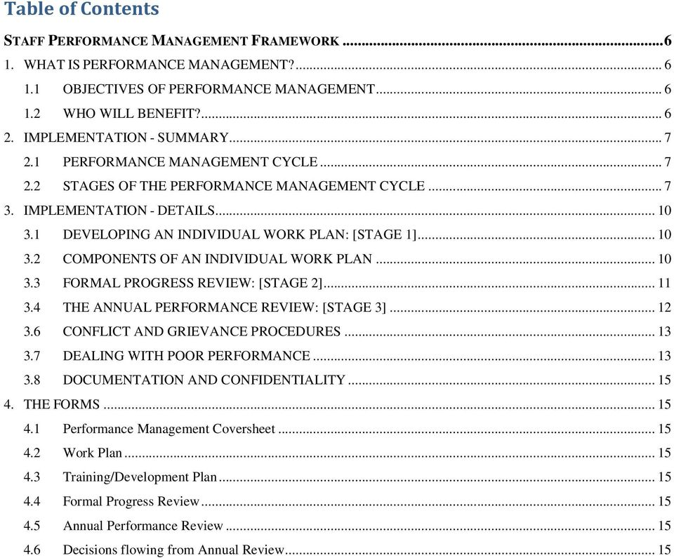 1 DEVELOPING AN INDIVIDUAL WORK PLAN: [STAGE 1]... 10 3.2 COMPONENTS OF AN INDIVIDUAL WORK PLAN... 10 3.3 FORMAL PROGRESS REVIEW: [STAGE 2]... 11 3.4 THE ANNUAL PERFORMANCE REVIEW: [STAGE 3]... 12 3.