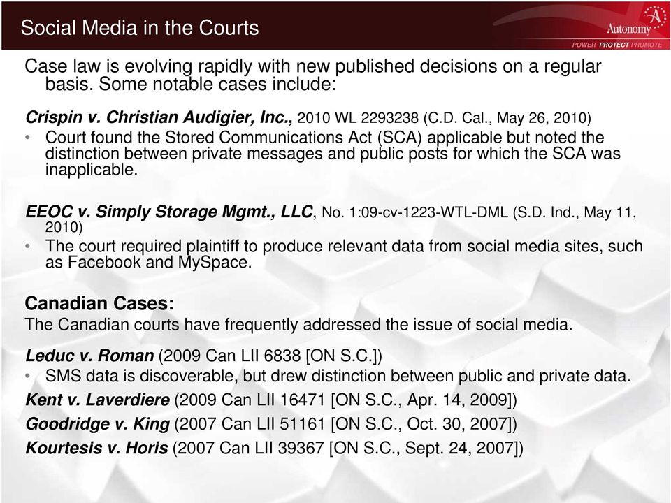 Simply Storage Mgmt., LLC, No. 1:09-cv-1223-WTL-DML 1223 (S.D. Ind., May 11, 2010) The court required plaintiff to produce relevant data from social media sites, such as Facebook and MySpace.