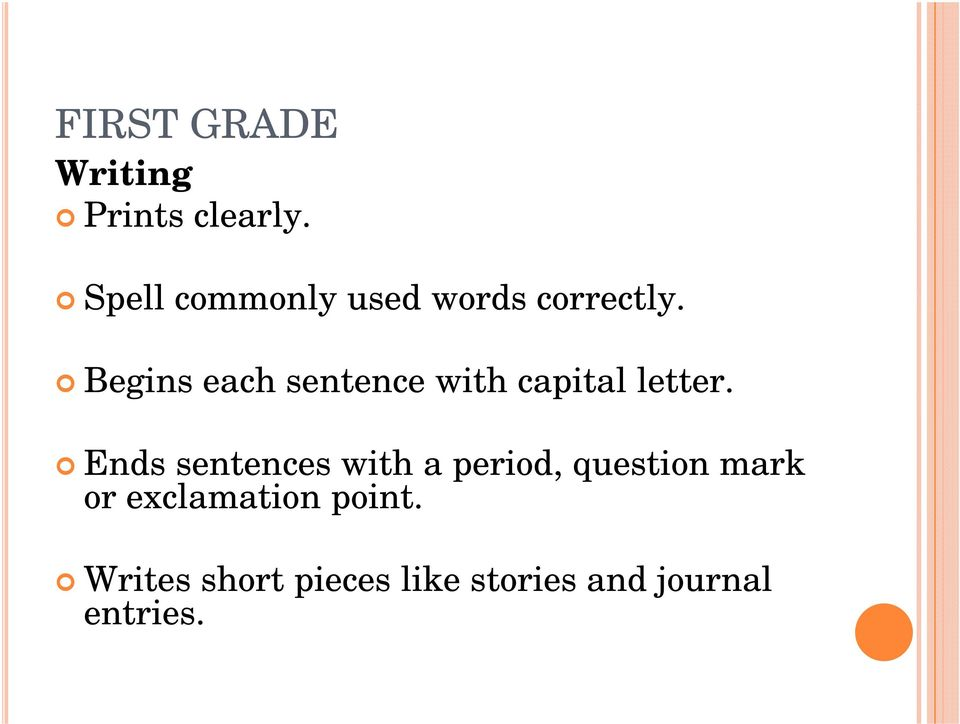 Begins each sentence with capital letter.