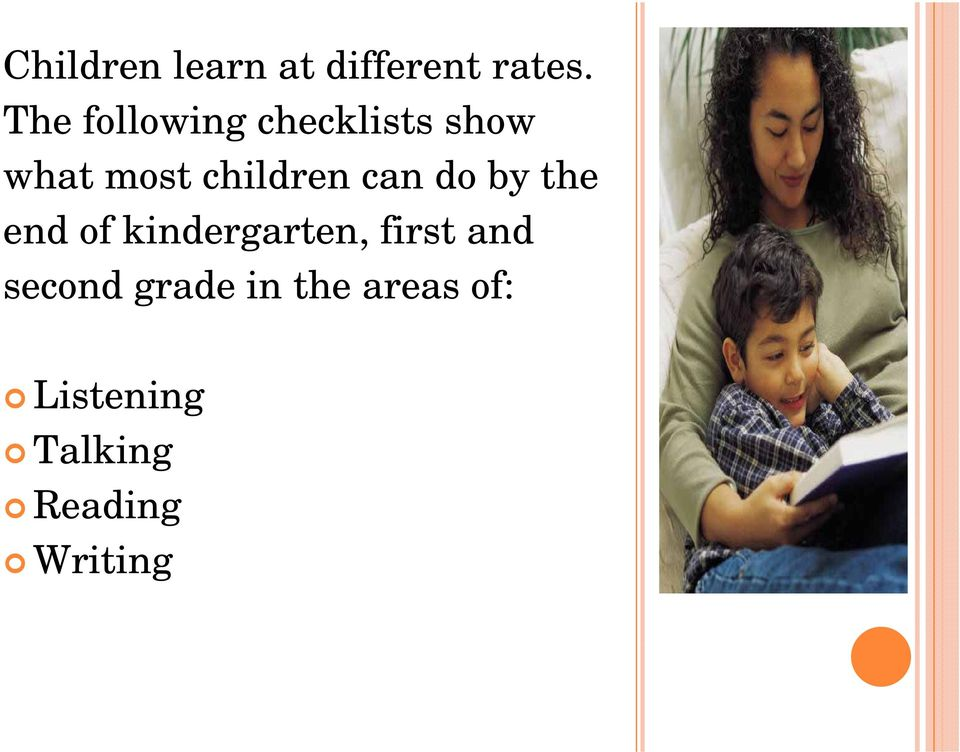 children can do by the end of kindergarten,