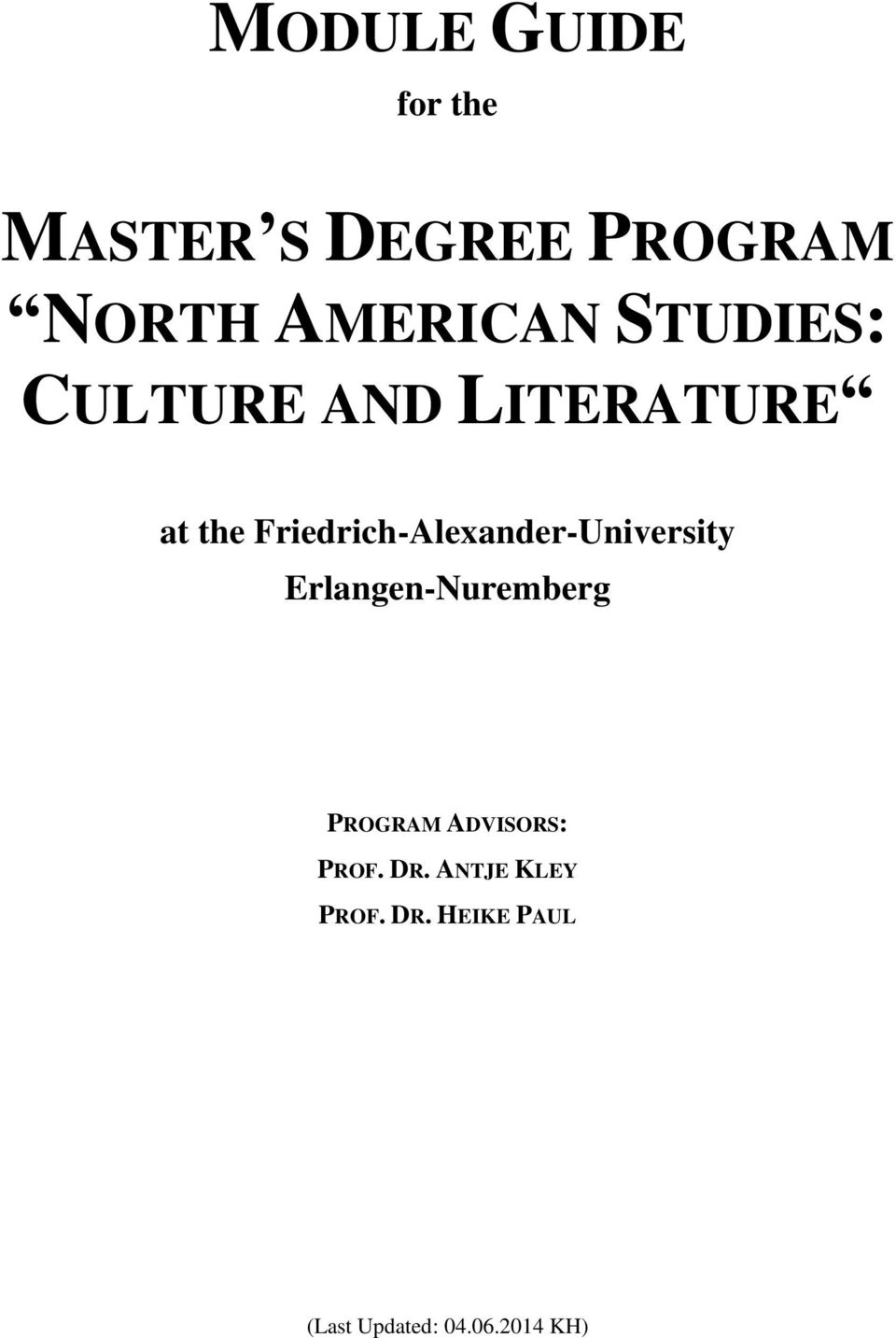 Friedrich-Alexander-University Erlangen-Nuremberg PROGRAM