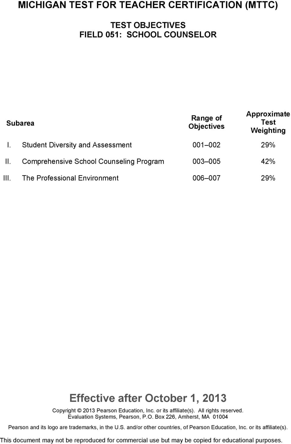 Student Diversity and Assessment 001 002 29% II.
