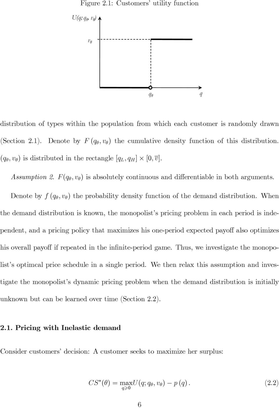 Denote by f (q ; v ) the probability density function of the demand distribution.
