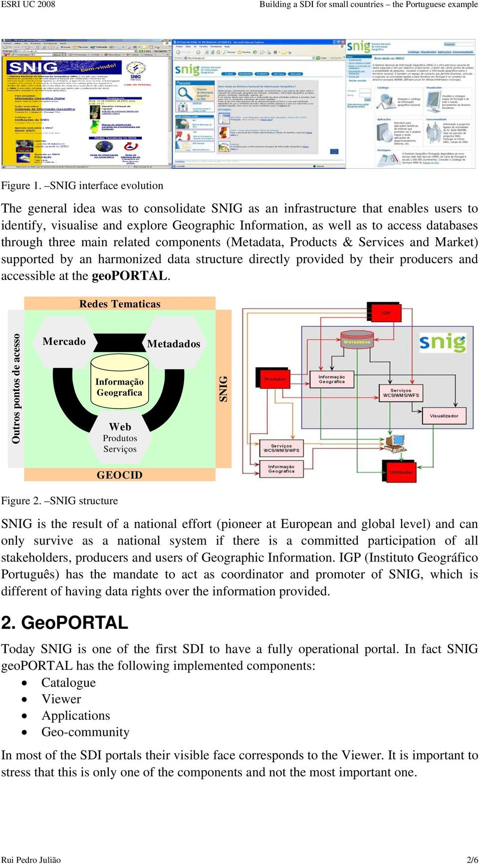 through three main related components (Metadata, Products & Services and Market) supported by an harmonized data structure directly provided by their producers and accessible at the geoportal.