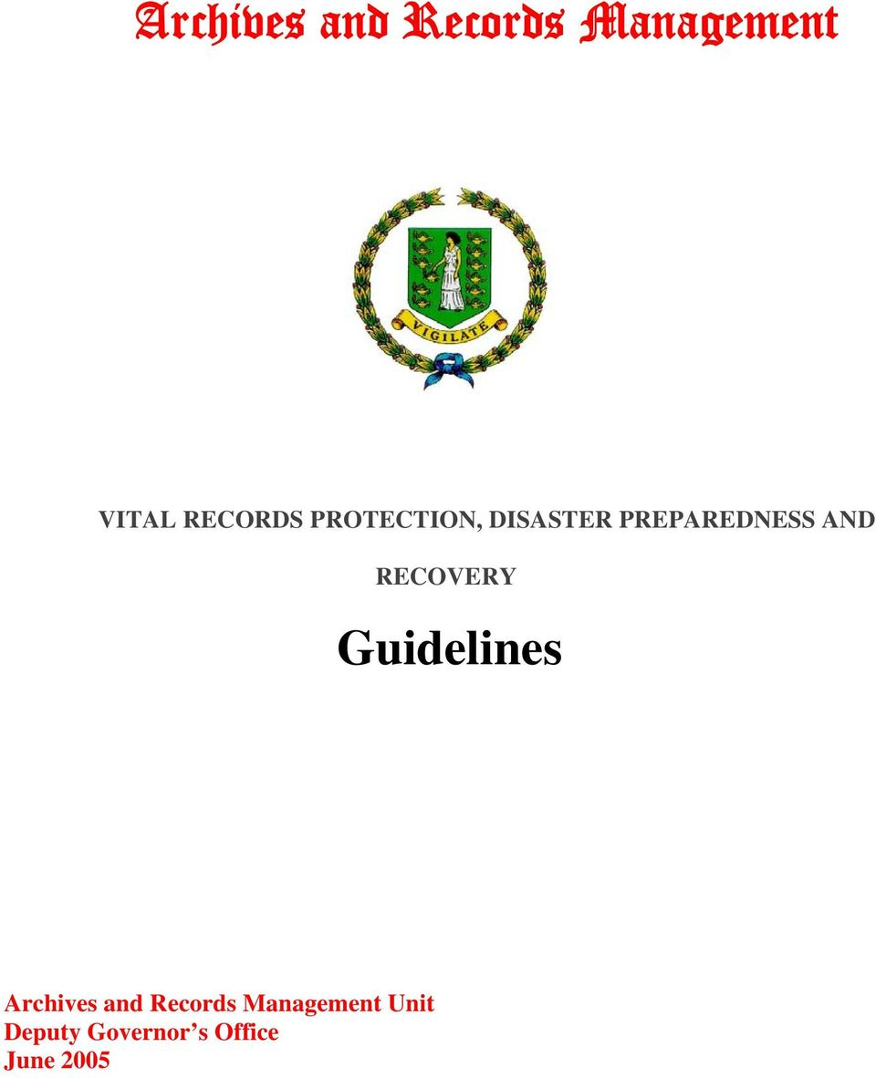AND RECOVERY Guidelines Archives and