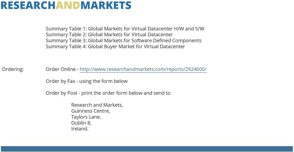Virtual Datacenter Ordering: Order Online - http://www.researchandmarkets.