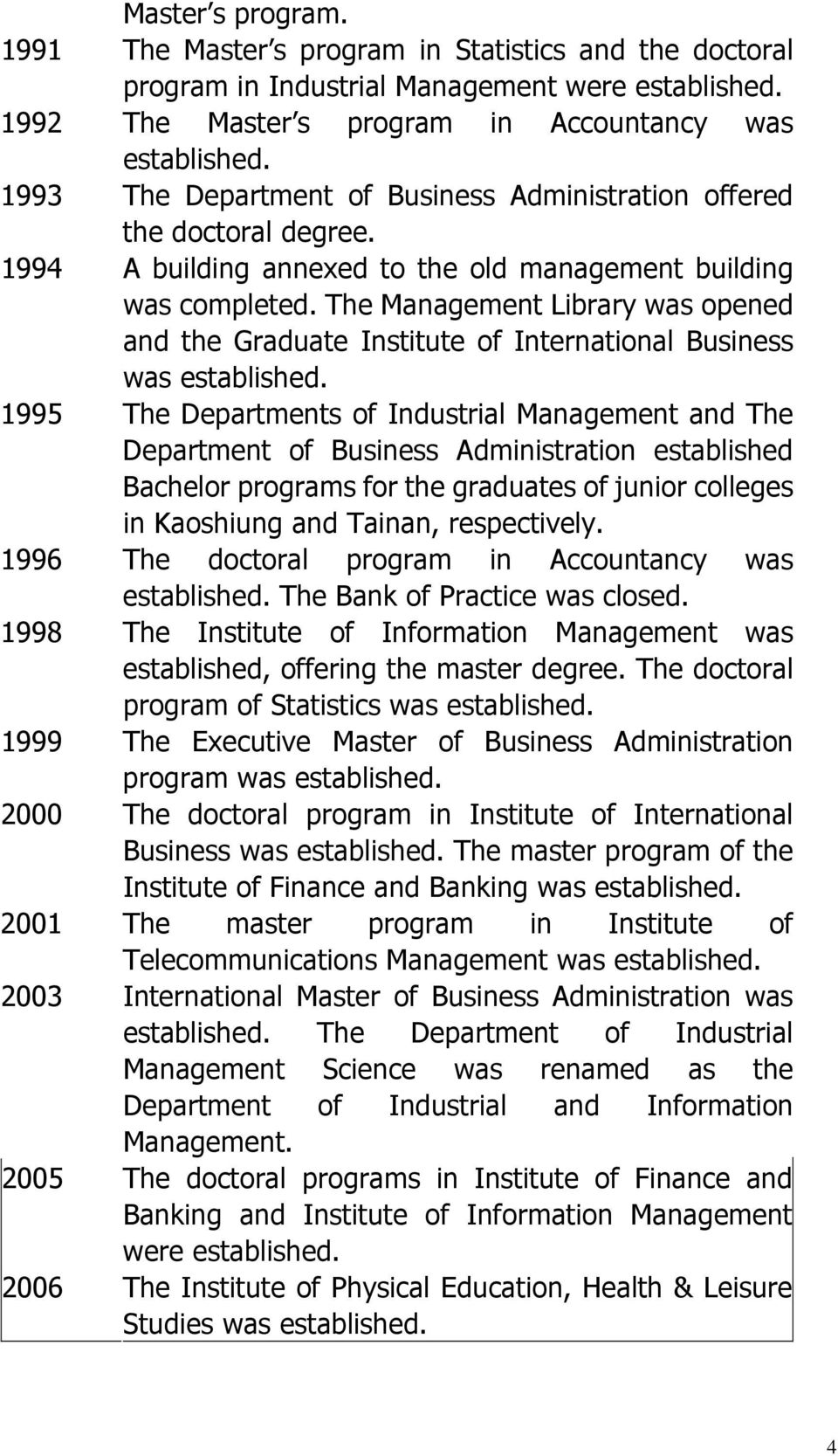 The Management Library was opened and the Graduate Institute of International Business was established.