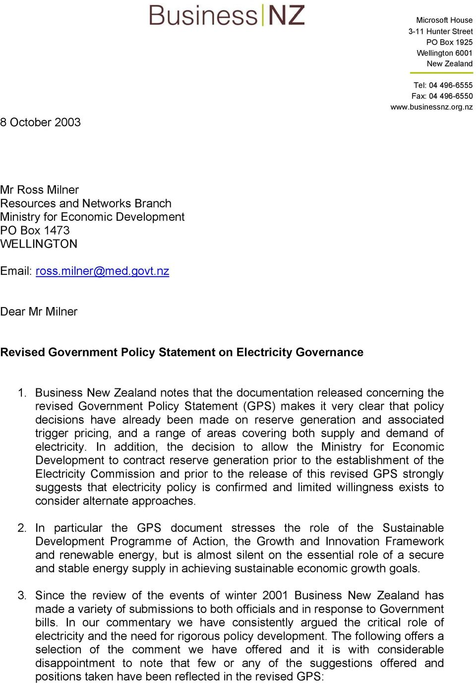 nz Dear Mr Milner Revised Government Policy Statement on Electricity Governance 1.