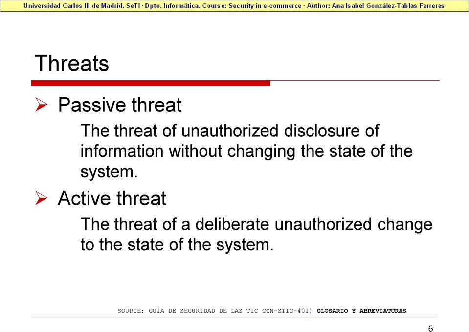Active threat The threat of a deliberate unauthorized change to the