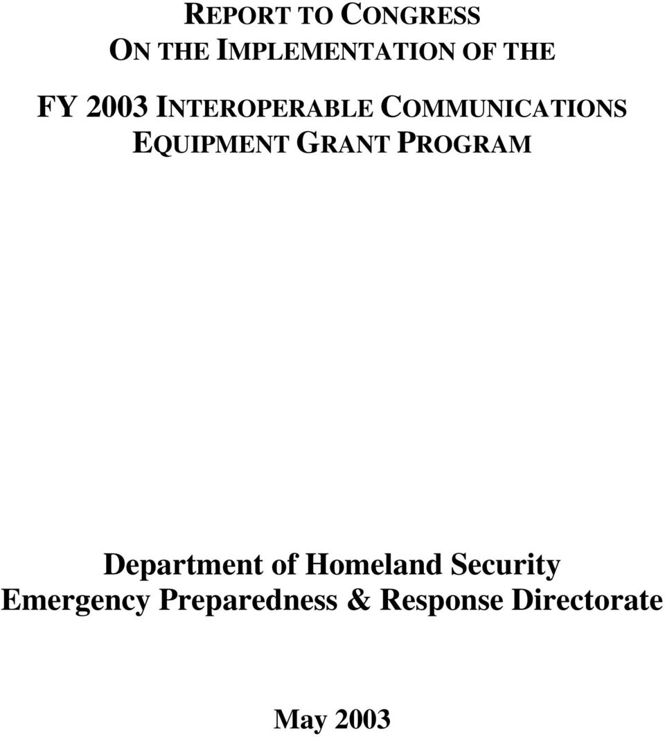 GRANT PROGRAM Department of Homeland Security