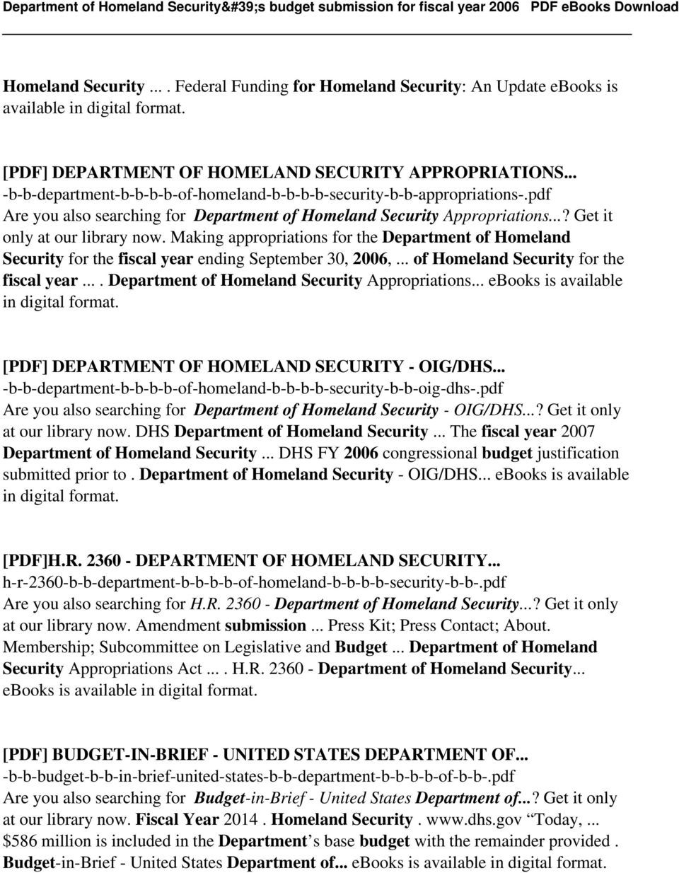 Making appropriations for the Department of Homeland Security for the fiscal year ending September 30, 2006,... of Homeland Security for the fiscal year.... Department of Homeland Security Appropriations.
