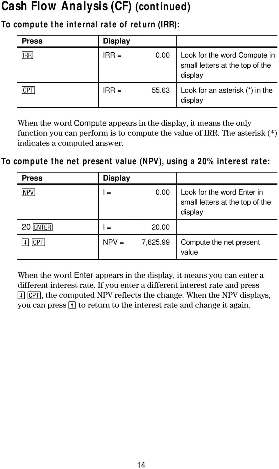 The asterisk (*) indicates a computed answer. To compute the net present value (NPV), using a 20% interest rate: ( I = 0.00 Look for the word Enter in small letters at the top of the display 20!