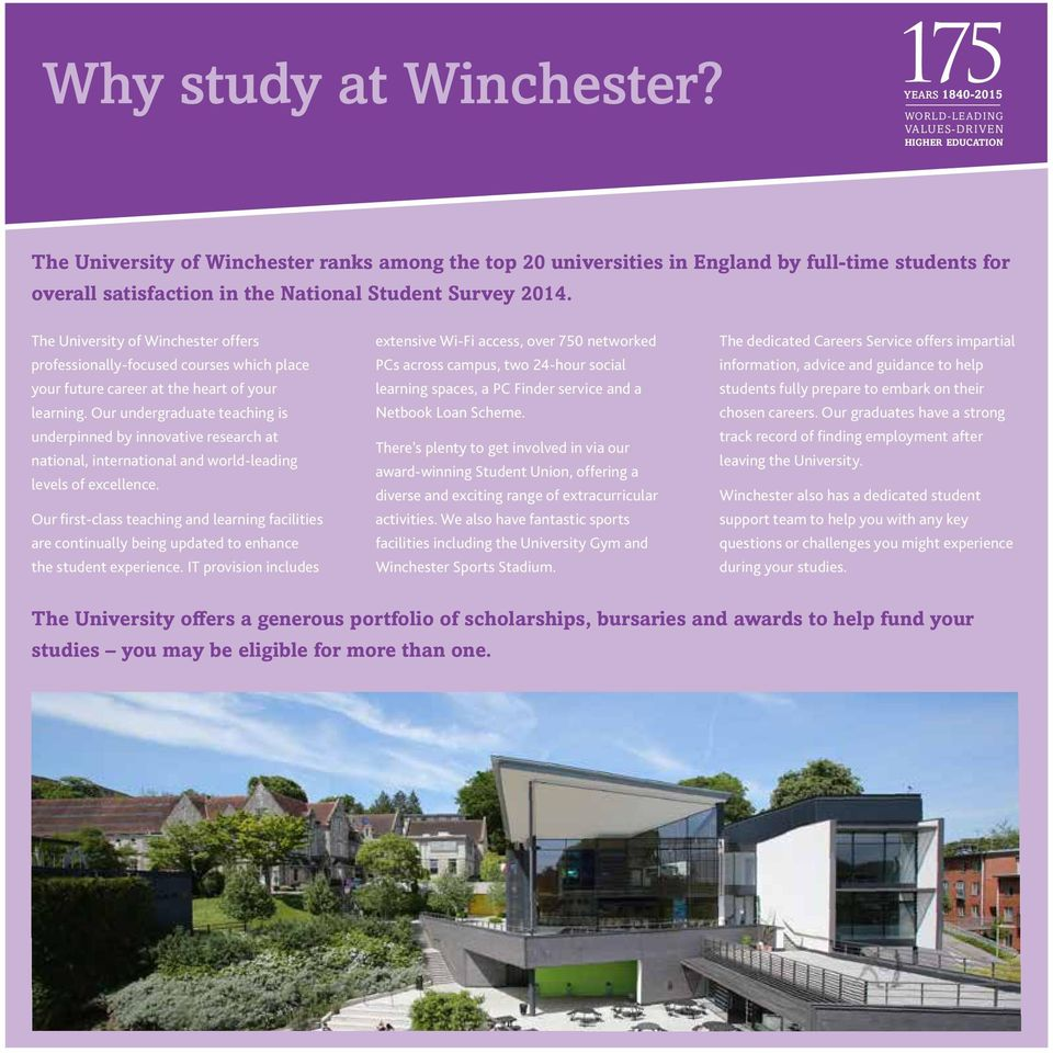 National Student Survey 2014. The University of Winchester offers professionally-focused courses which place your future career at the heart of your learning.