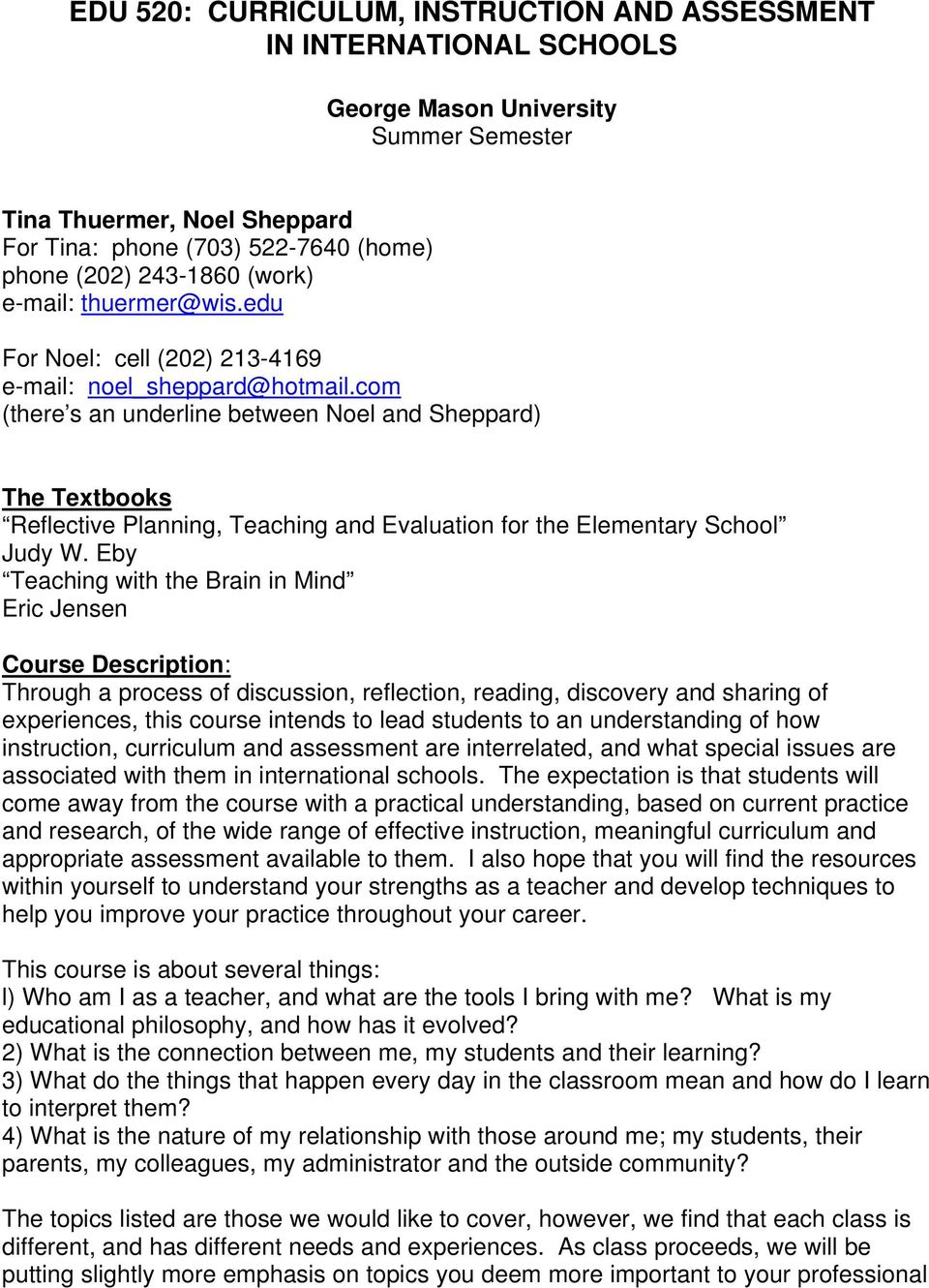 com (there s an underline between Noel and Sheppard) The Textbooks Reflective Planning, Teaching and Evaluation for the Elementary School Judy W.