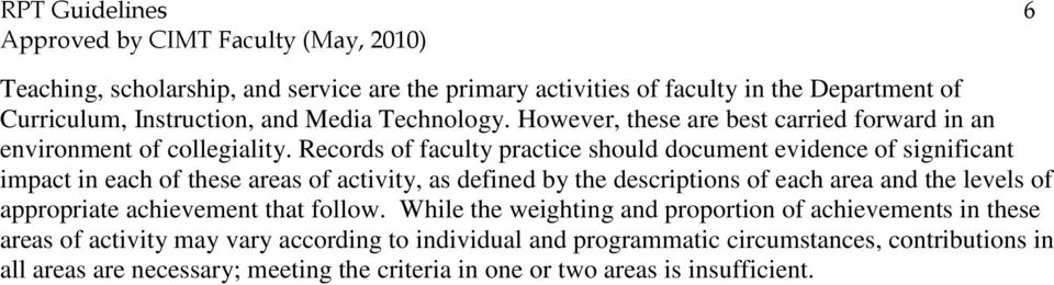 Records of faculty practice should document evidence of significant impact in each of these areas of activity, as defined by the descriptions of each area and the levels