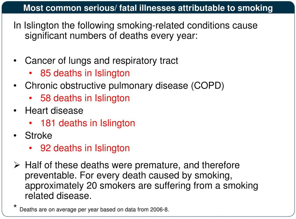 Heart disease 181 deaths in Islington Stroke 92 deaths in Islington Half of these deaths were premature, and therefore preventable.