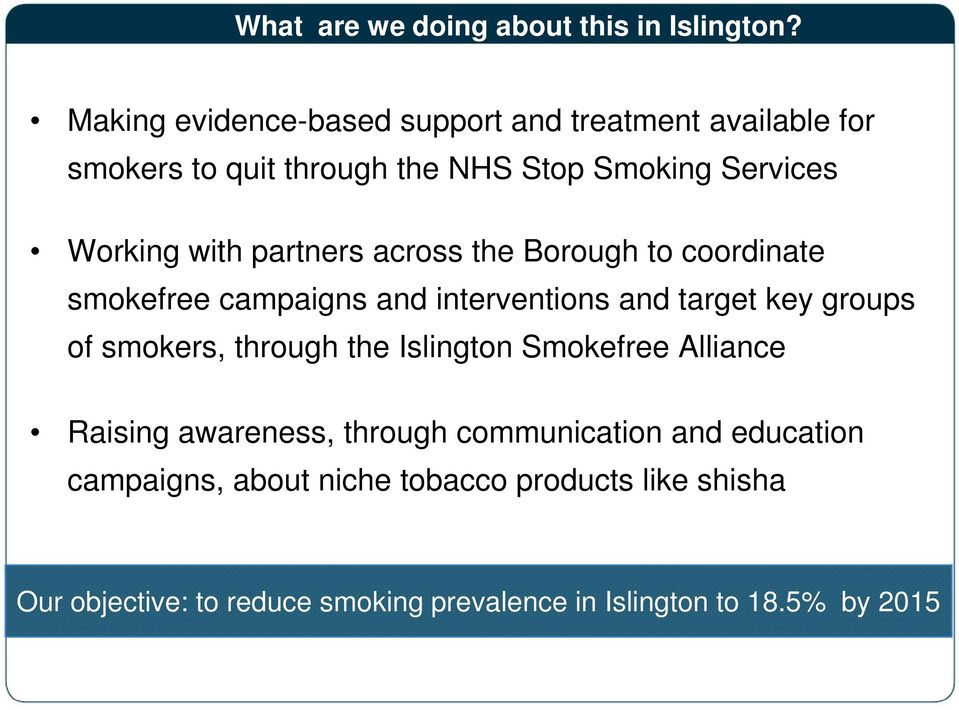 partners across the Borough to coordinate smokefree campaigns and interventions and target key groups of smokers, through the