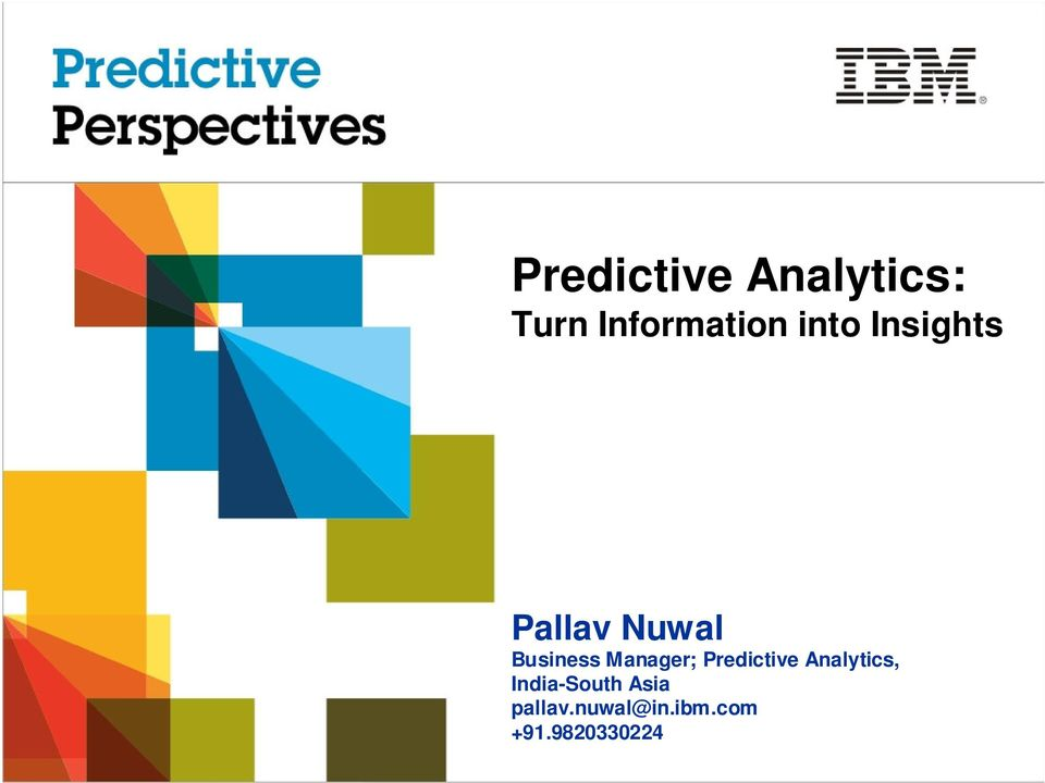 Manager; Predictive Analytics,