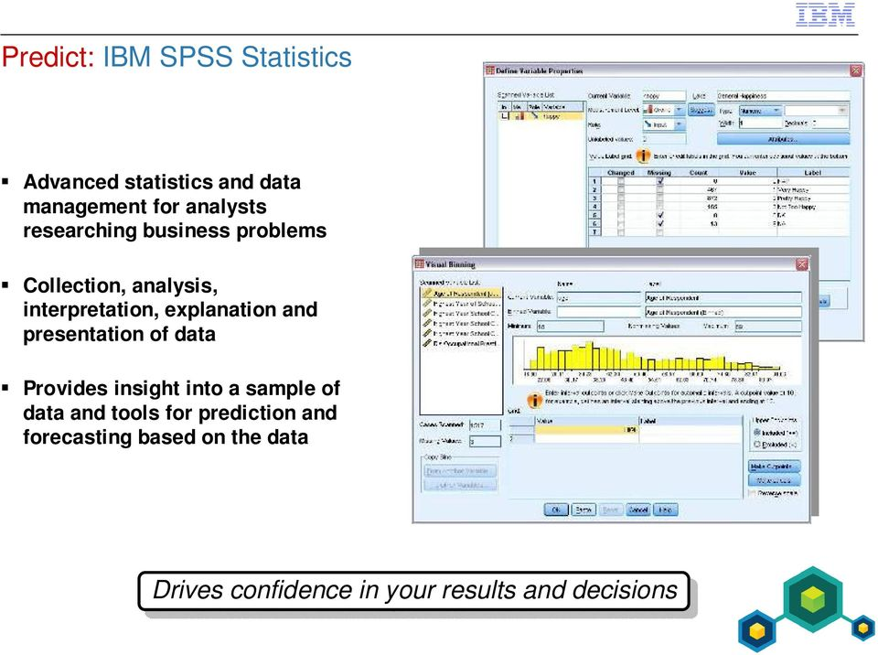 presentation of data Provides insight into a sample of data and tools for prediction