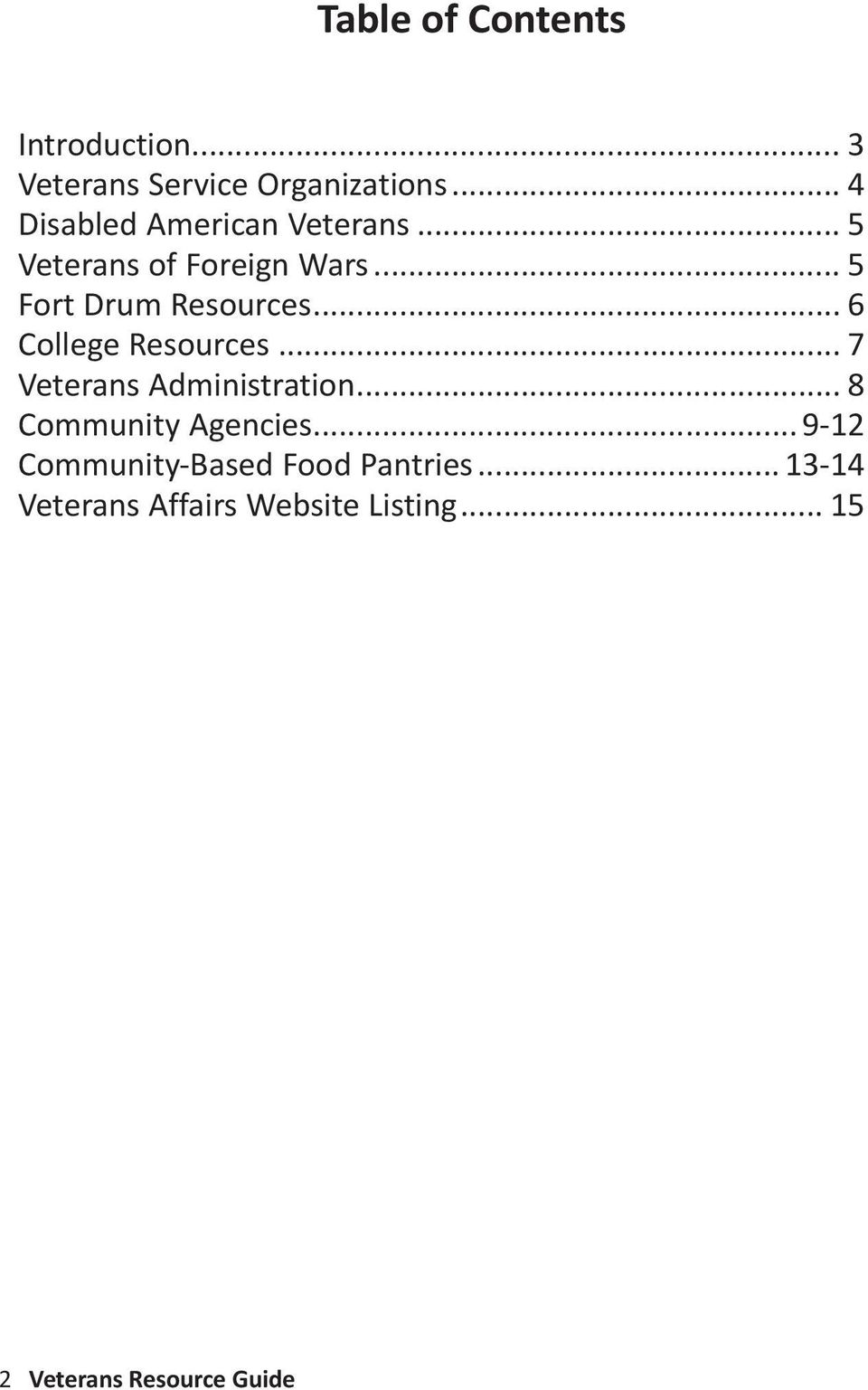 .. 6 College Resources... 7 Veterans Administration... 8 Community Agencies.