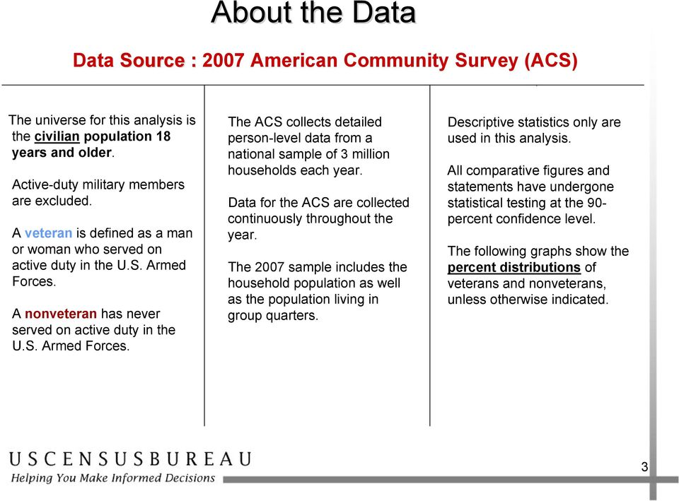 Data for the ACS are collected continuously throughout the year. The 2007 sample includes the household population as well as the population living in group quarters.