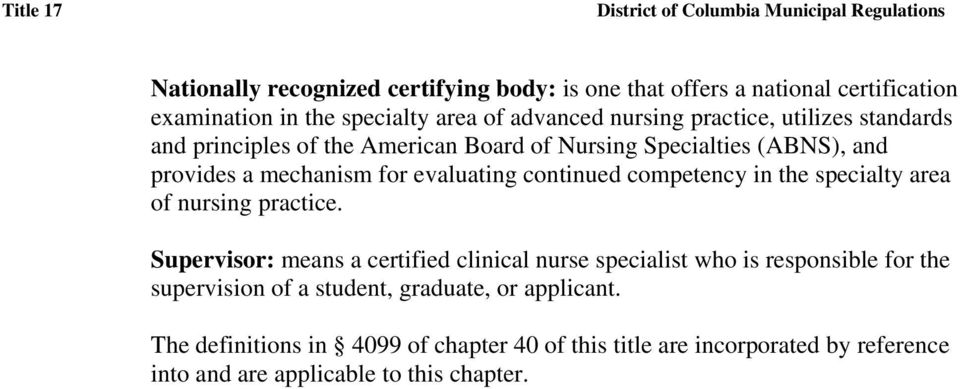in the specialty area of nursing practice.