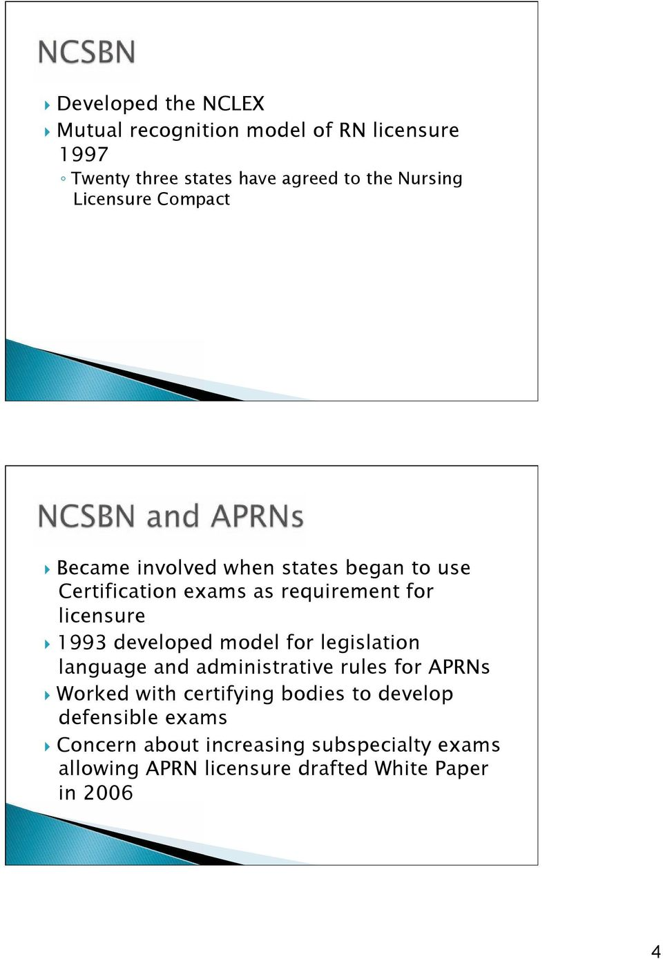 developed model for legislation language and administrative rules for APRNs Worked with certifying bodies to