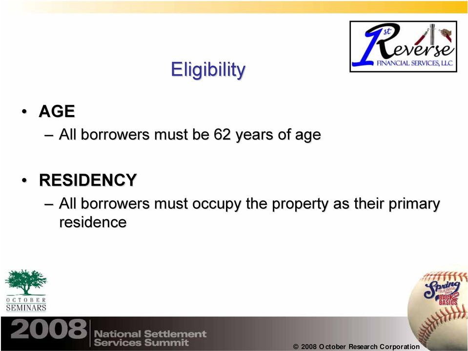 RESIDENCY All borrowers must