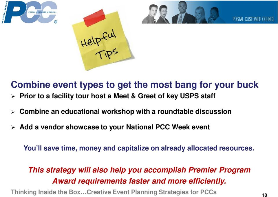 your National PCC Week event You ll save time, money and capitalize on already allocated resources.