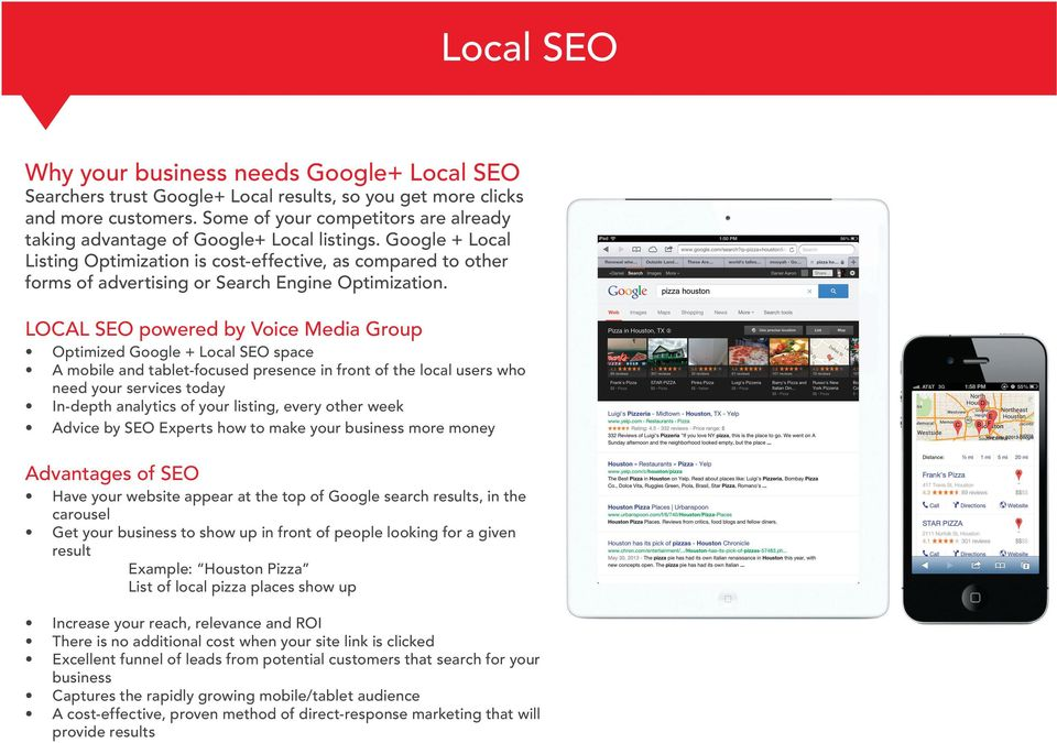 Google + Local Listing Optimization is cost-effective, as compared to other forms of advertising or Search Engine Optimization.