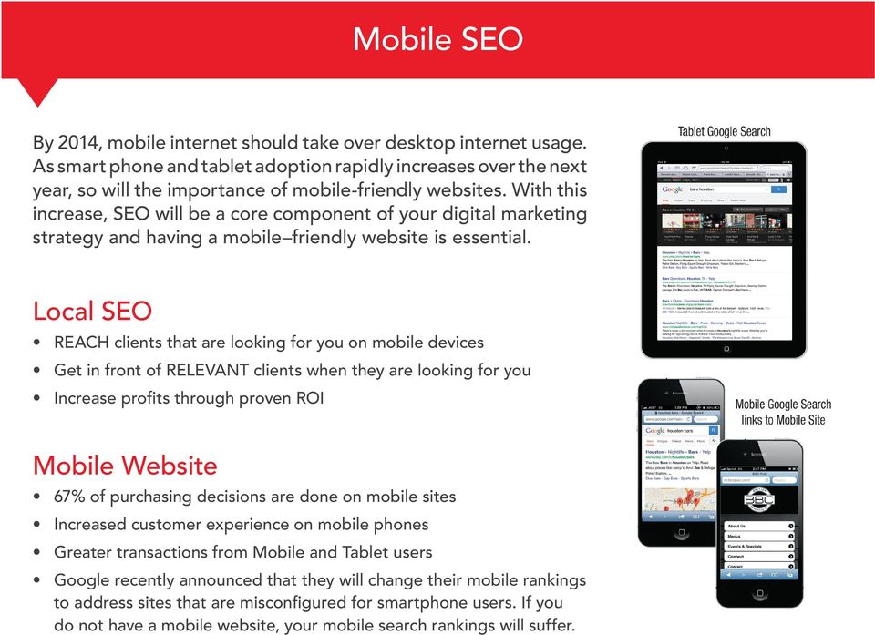 With this increase, SEO will be a core component of your digital marketing strategy and having a mobile friendly website is essential.