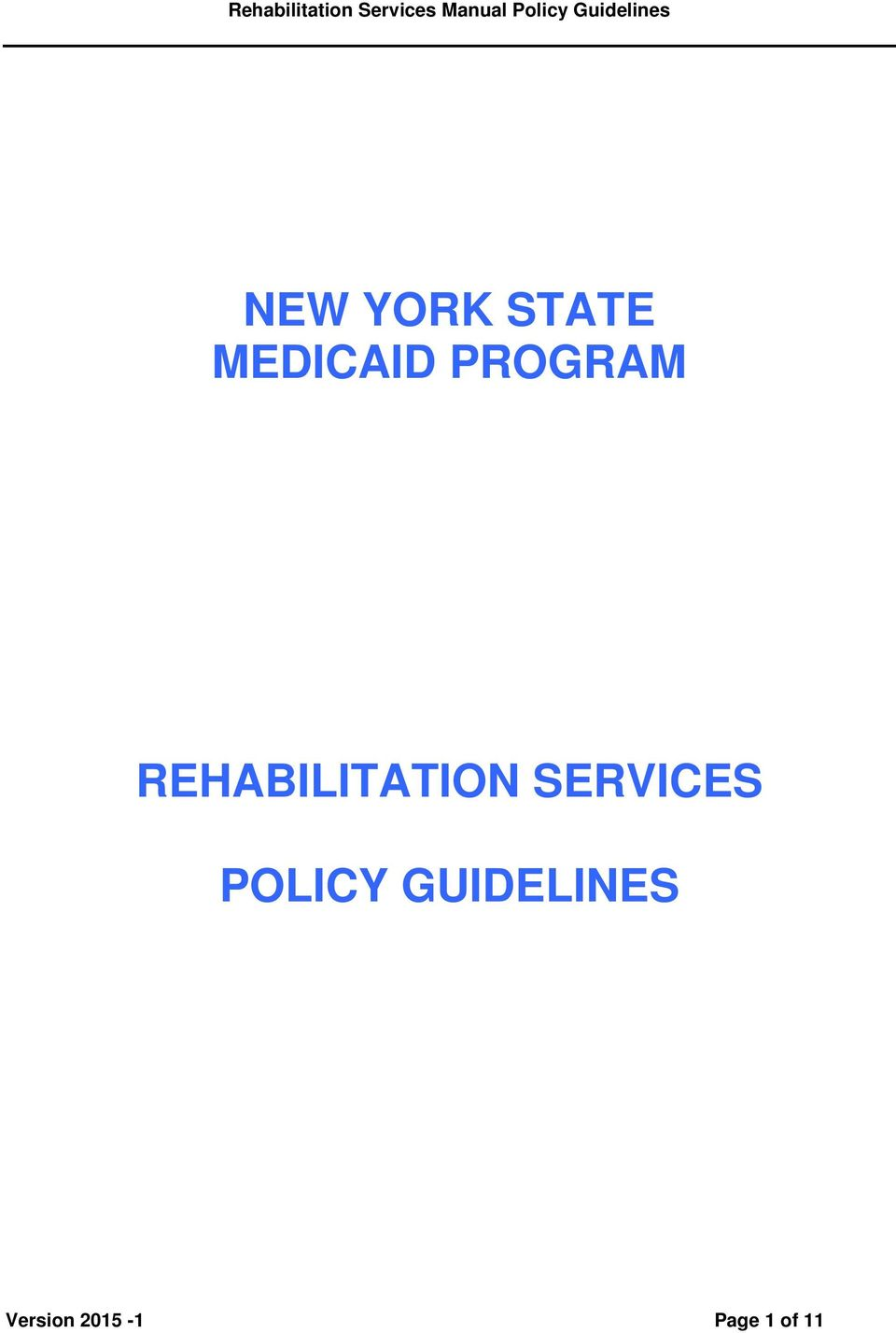 SERVICES POLICY