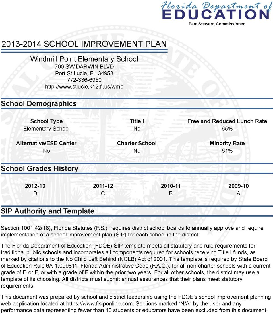 2010-11 2009-10 D C B A SIP Authority and Template Section 1001.42(18), Florida Statutes (F.S.), requires district school boards to annually approve and require implementation of a school improvement plan (SIP) for each school in the district.