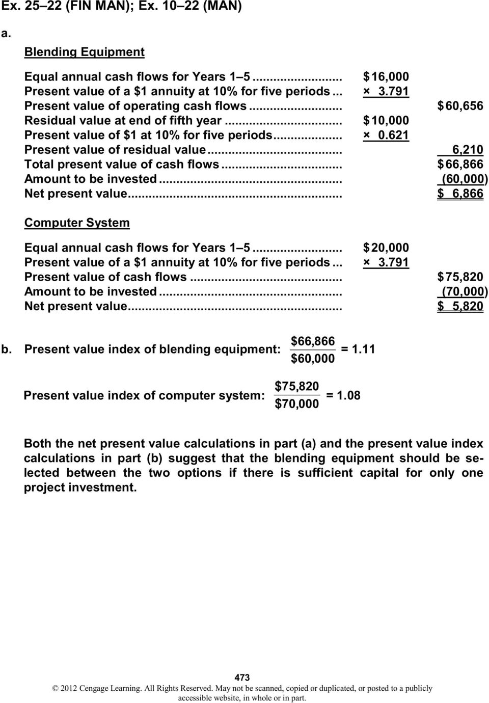.. 6,210 Total present value of cash flows... $ 66,866 Amount to be invested... (60,000) Net present value... $ 6,866 Computer System Equal annual cash flows for Years 1 5.