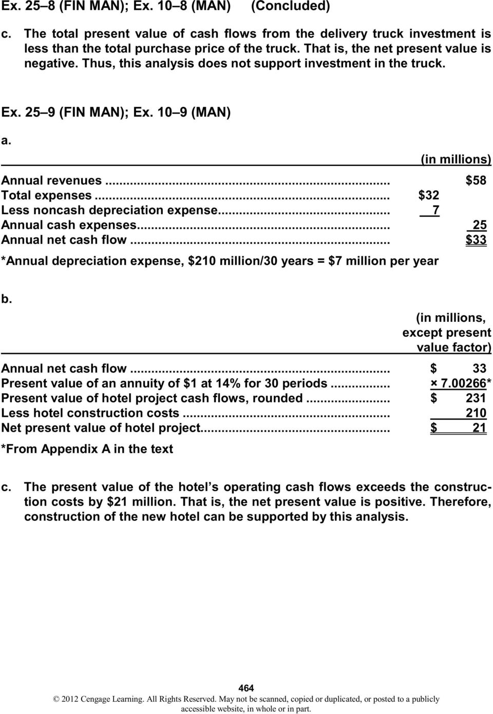 .. $32 Less noncash depreciation expense... 7 Annual cash expenses... 25 Annual net cash flow... $33 *Annual depreciation expense, $210 million/30 years $7 million per year b.