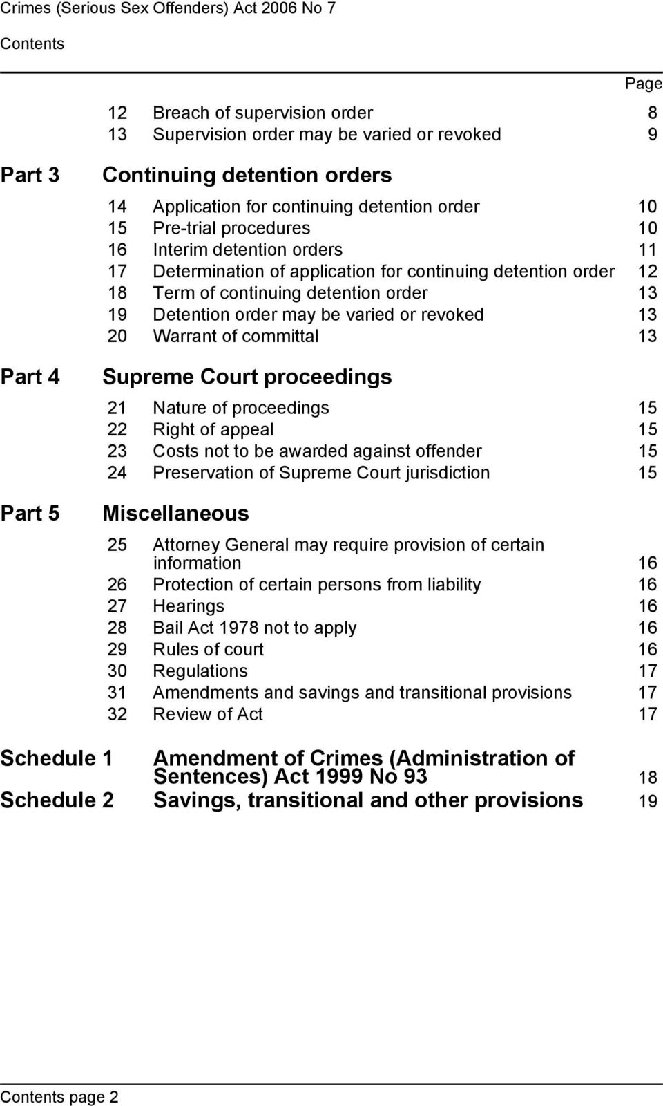 detention order 13 19 Detention order may be varied or revoked 13 20 Warrant of committal 13 Supreme Court proceedings 21 Nature of proceedings 15 22 Right of appeal 15 23 Costs not to be awarded