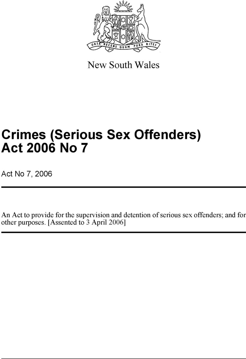 supervision and detention of serious sex