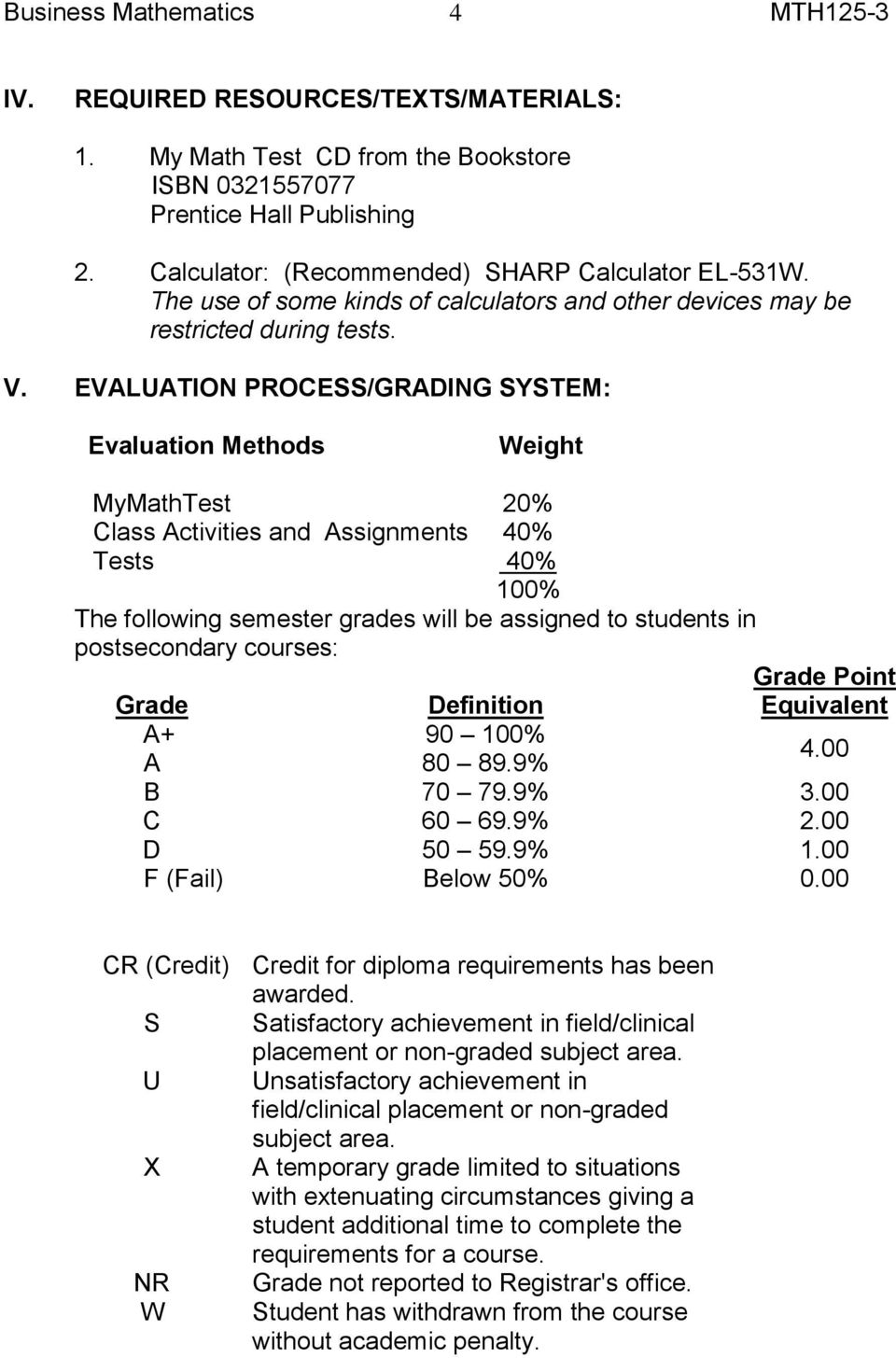 EVALUATION PROCESS/GRADING SYSTEM: Evaluation Methods Weight MyMathTest 20% Class Activities and Assignments 40% Tests 40% 100% The following semester grades will be assigned to students in