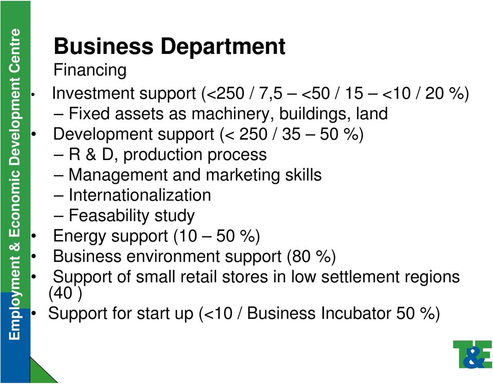 skills Internationalization Feasability study Energy support (10 50 %) Business environment support (80 %)