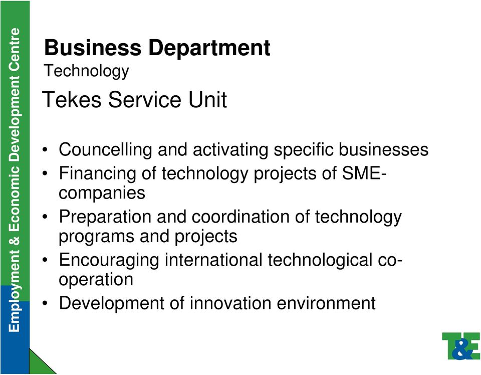 SMEcompanies Preparation and coordination of technology programs and