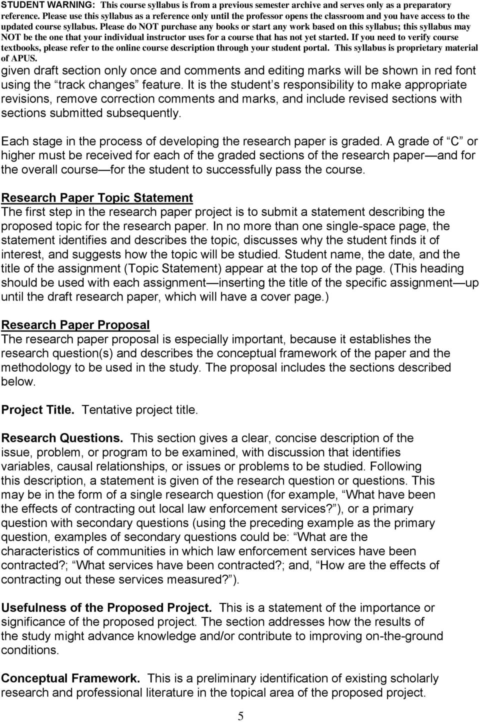 Each stage in the process of developing the research paper is graded.