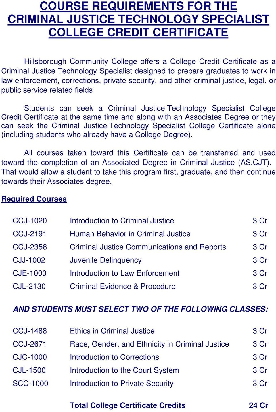 Justice Technology Specialist College Credit Certificate at the same time and along with an Associates Degree or they can seek the Criminal Justice Technology Specialist College Certificate alone