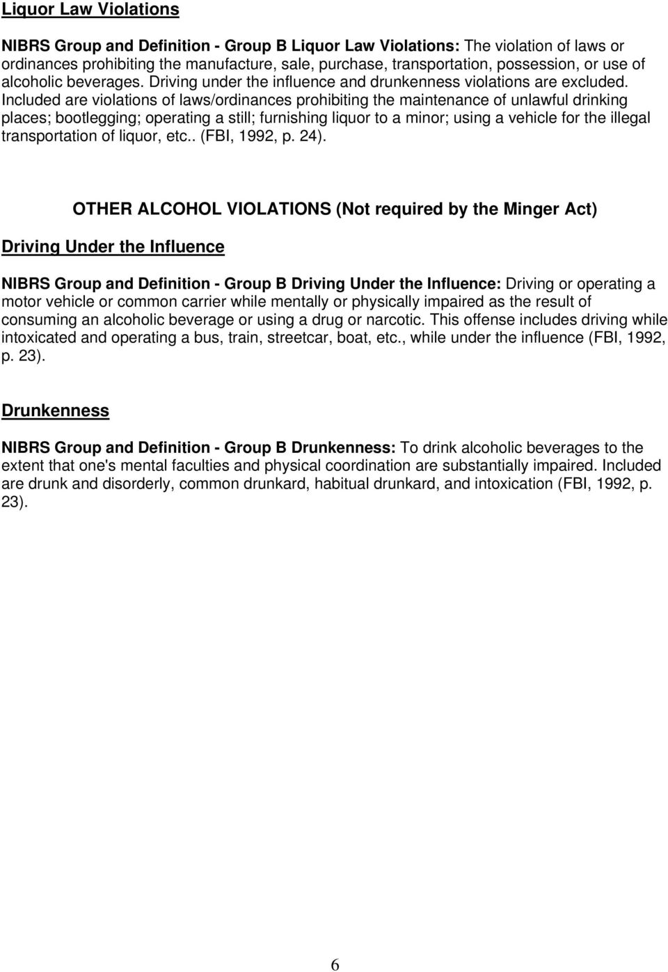 Included are violations of laws/ordinances prohibiting the maintenance of unlawful drinking places; bootlegging; operating a still; furnishing liquor to a minor; using a vehicle for the illegal