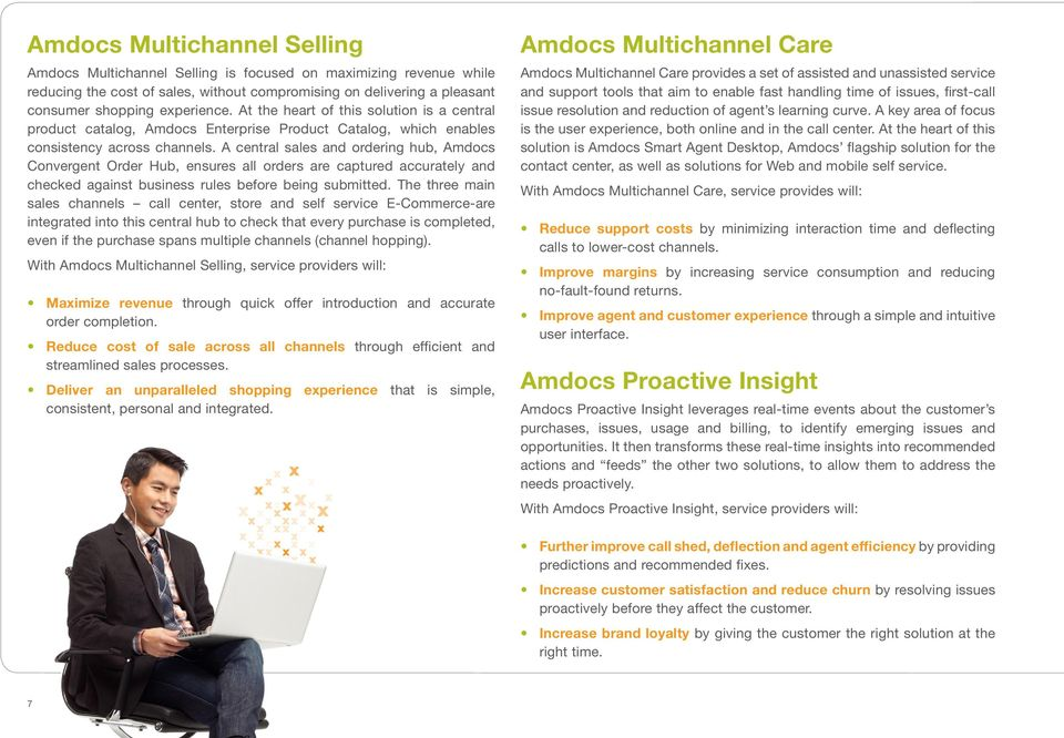 A central sales and ordering hub, Amdocs Convergent Order Hub, ensures all orders are captured accurately and checked against business rules before being submitted.