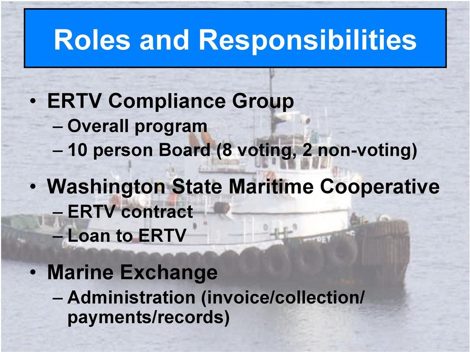 Washington State Maritime Cooperative!ERTV contract!