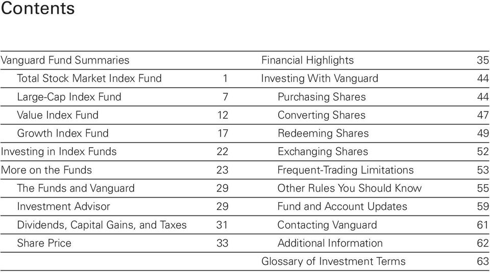 Shares 52 More on the Funds 23 Frequent-Trading Limitations 53 The Funds and Vanguard 29 Other Rules You Should Know 55 Investment Advisor 29 Fund